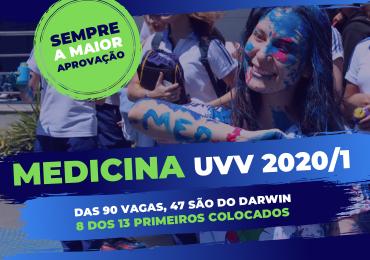 UVV 2020/1: Darwin tem 47 dos 90 aprovados em Medicina